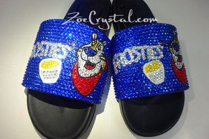Customize Your SANDALS SLIDES Slippers in Summer Beach, Wedding, Fashion - Example of Bling Frostie -  Bedazzled Swarovski Rhinestone