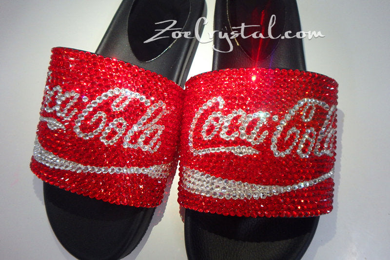 Customize Your SANDALS SLIDES Slippers in Summer Beach, Wedding, Fashion - Example of Bling Coke Cola -  Unique Shinny Swarovski Rhinestone