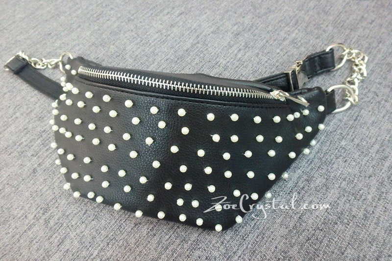 BELT BAG with Pearl in Fashion and Luxury : Fanny Pack, Hip Bag, Travel Pouch, Hands Free Bag, Boho, Waist Bag,Duck Canvas Bag