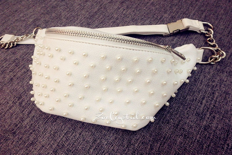 BELT BAG with Pearl in Fashion and Luxury : Fanny Pack, Waist Bag, Hip Bag, Travel Pouch, Hands Free Bag, Boho, Duck Canvas Bag