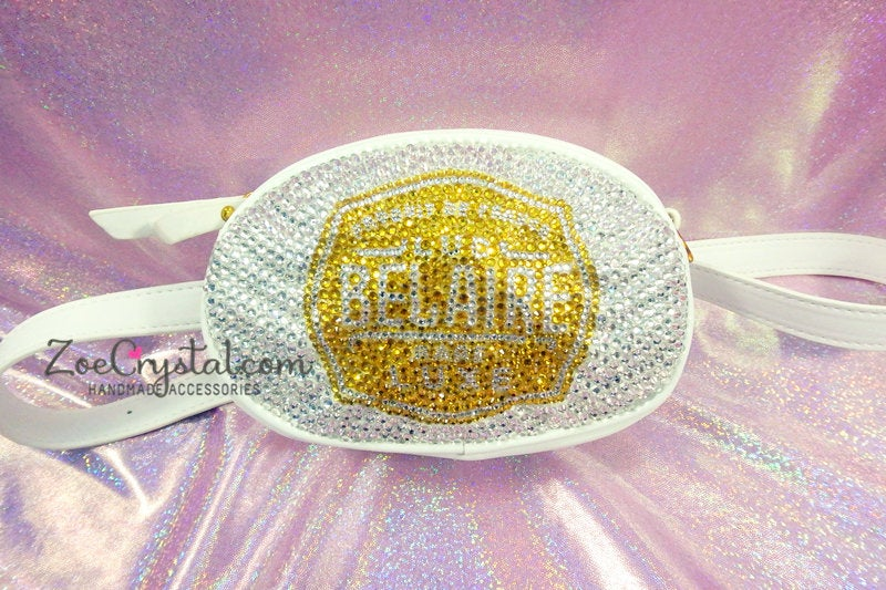 BELT BAG in Swarovski Rhinestones BLING with Your Favorite Logo- Nba Nfl  Mlb : Fanny Pack, Waist Bag, Hip Bag, Travel Pouch, Hands Free Bag