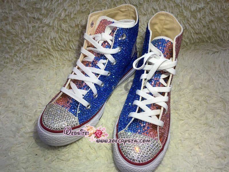 Customize Your Wedding Converse Chuck Taylor All Star SNEAKERS with Shinning and bling Rhinestones CRYSTALS Wedding, Party, Prom, Festival