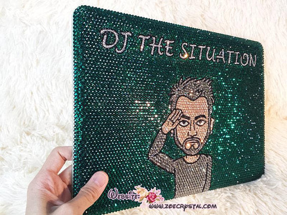 BLING Your LOGO, Design, Idol, Celeb, Symbol, DJ Macbook Air Pro Case Cover with Bedazzled  StrassGlittery Sparkly Shinny Crystal Rhinestone