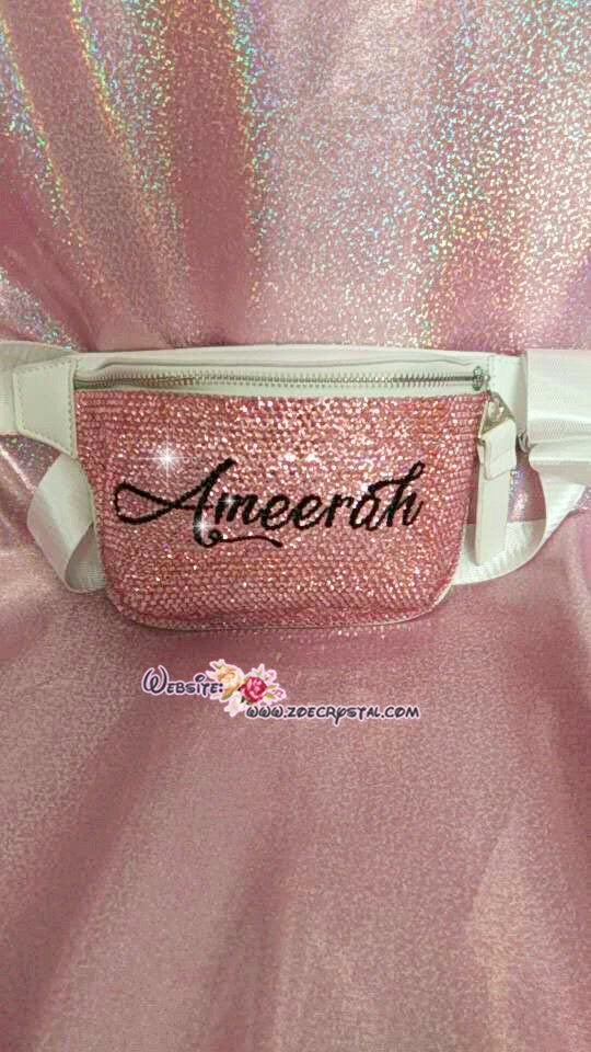 Customize Your BELT BAG Swarovski /Rhinestones BLING with Your Favorite Name, Initial or Nba Nfl  Mlb Logo Fanny Pack, Waist Bag, Hip Bag