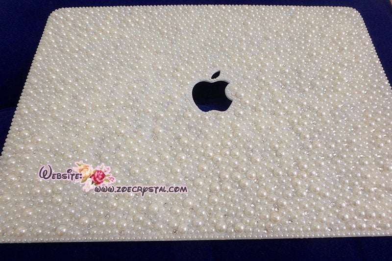 MACBOOK Air Pro Case Cover Bedazzled Bling Creamy White Pearls Swarovski Rhinestone Sparkly Shinny Bejeweled