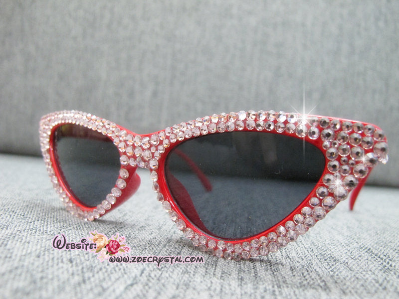 HOLLYWOOD Fashionable Cat Eye Sunglasses / Shades / Sunnies w Pink Bling Sparkly Bedazzled Rhinestones Festival Rockabilly Retro Pin Up
