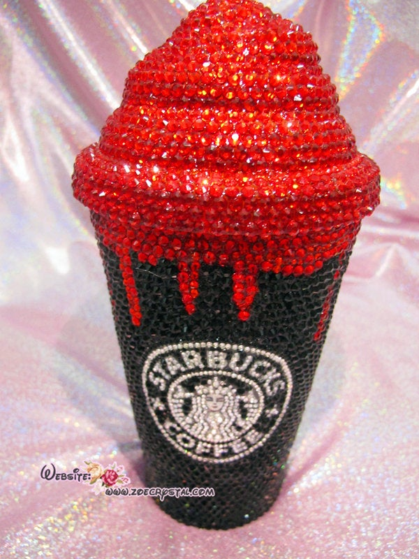 BLING STARBUCKS Coffee Cold  Cup / Mug / Tumbler with Swarovski Crystal Rhinestone Cream Top Lid Shane Dawson Trisha Paytas Zoe