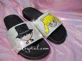 Customize Your SANDALS SLIDES Slippers in Summer Beach, Wedding, Fashion - Example of Sailor Moon & Tuxedo - Bedazzled Swarovski Rhinestone