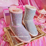New**Super Bling and Sparkly middle high SheepSkin Wool BOOTS w shinning Czech crystals