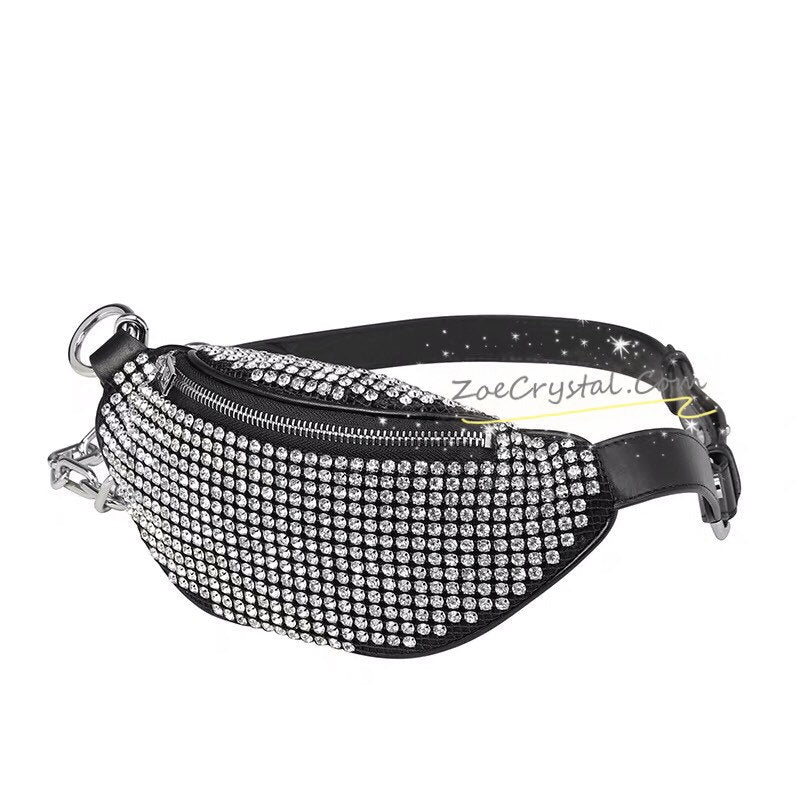 Bling BELT BAG with Bedazzled Crystal Rhinestone for Fashion and Luxury : Fanny Pack, Hip Bag, Travel Pouch, Hands Free Bag, Boho, Waist Bag