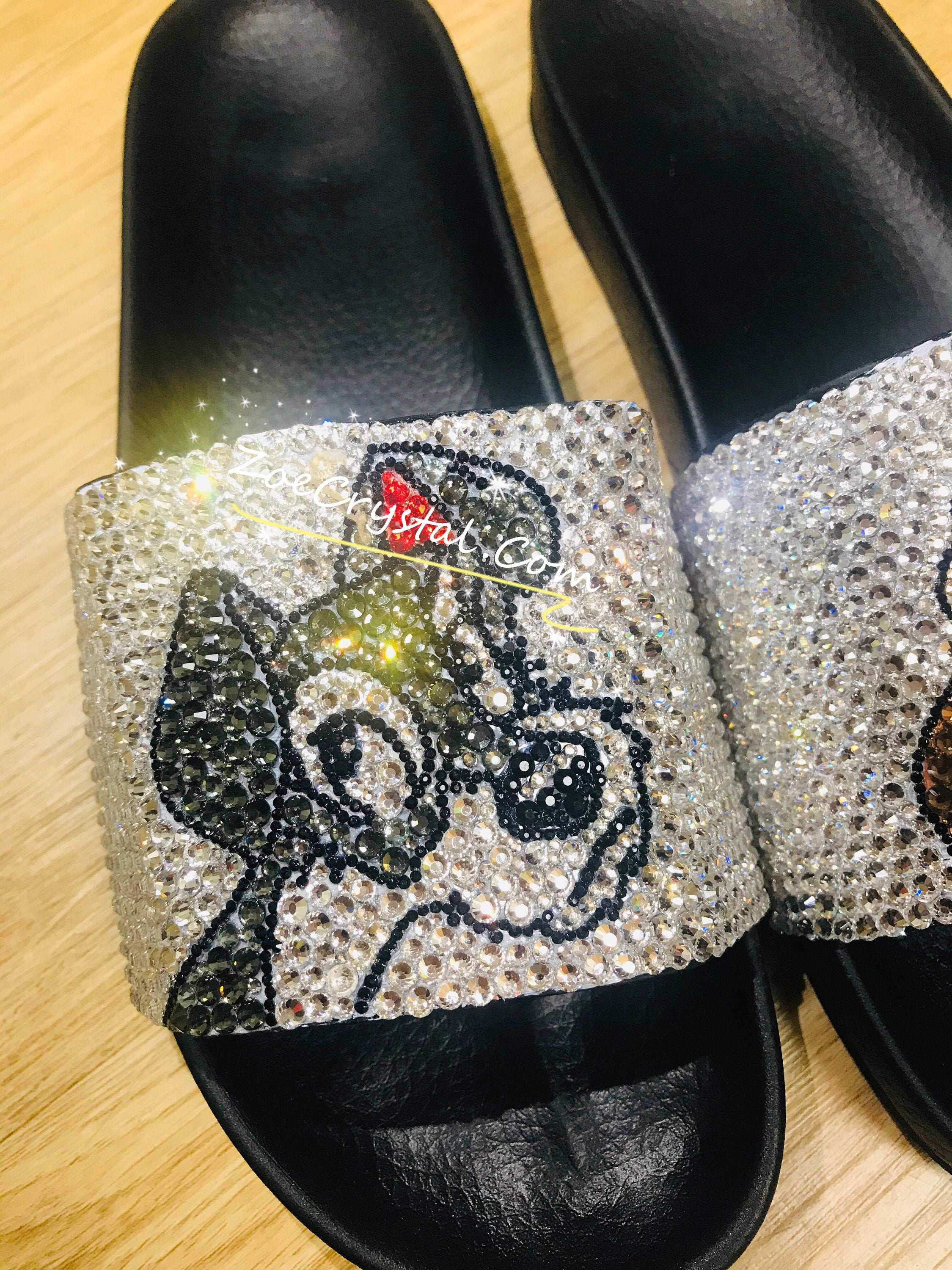 Customize Your SANDALS SLIDES Slippers in Summer Beach, Wedding, Fashion - Example of Lady and the tramp - Bedazzled Swarovski Rhinestone
