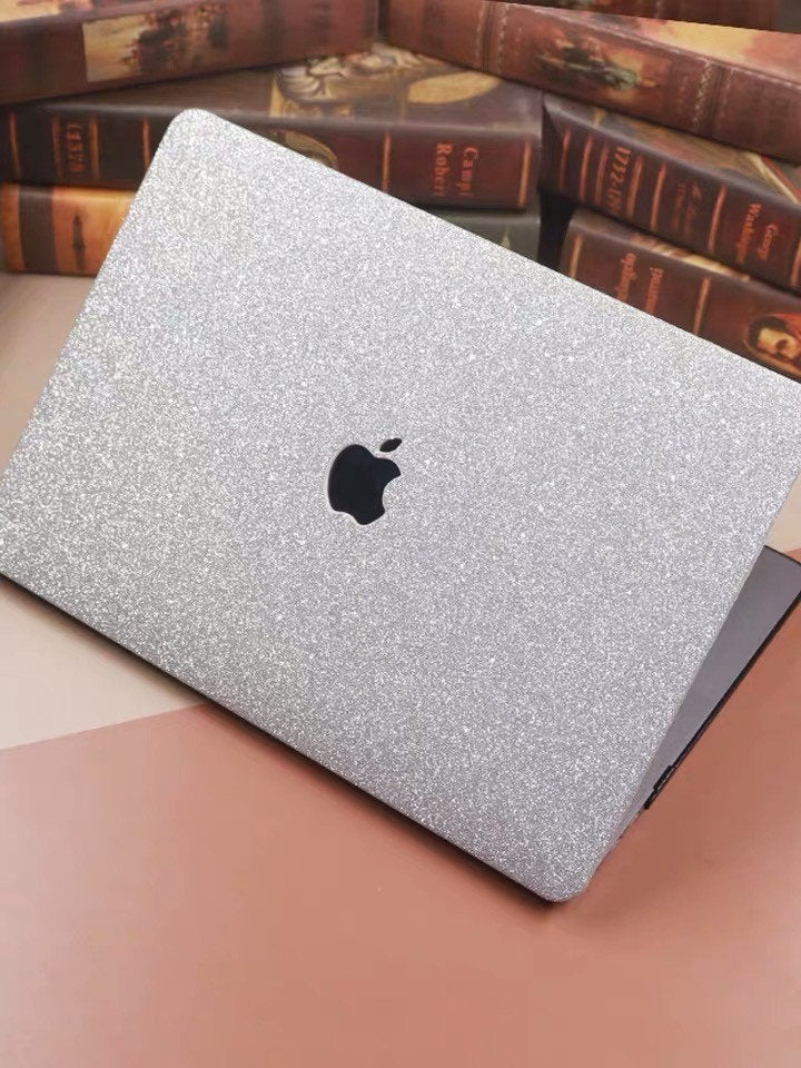 "Glitter MACBOOK Case / Cover Air Pro Bedazzled Bling 11"" 12"" 13"" 15"" 16"" Silver Sparkly Shinny Bejeweled Bedazzled Bling Stylish Diamond"