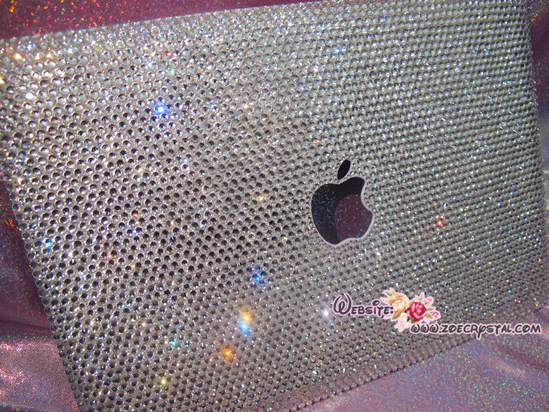 MACBOOK Case / Cover CELEB Kim Kardashian Kylie Jenner in Silver Crystal Rhinestone (Air / Pro) Glittering Sparkly Shinny