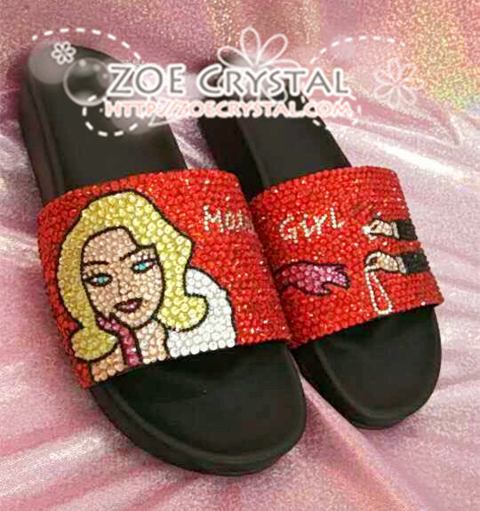 Customize Your Bling SANDALS SLIDES Slippers for Summer Holiday, Wedding, Festival, Fashion or Event with Bedazzled Swarovski Rhinestones