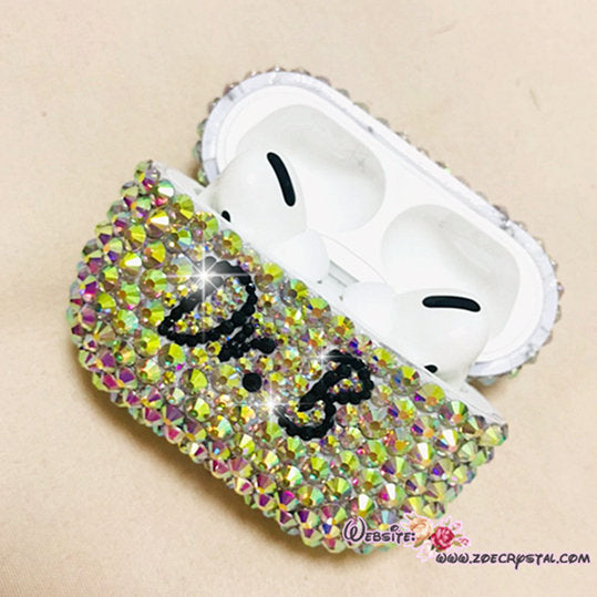 Bling and Bedazzled Airpod Charging Case / Cover / Holder in AB WHITE Crystal Rhinestones - Personalize it  by Adding Name or Words