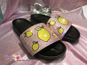 Bling Your SANDALS SLIDES Slippers for Summer Beach, Wedding, Festival with Bedazzled Swarovski Crystal Rhinestones -Lemon Fruits