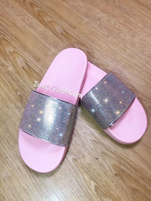 SUMMER Bling Bedazzled SANDALS SLIDES Slippers with Rhinestone Crystal - Stylish Fashinable Cool Shinny Sparkly Glitter Strass