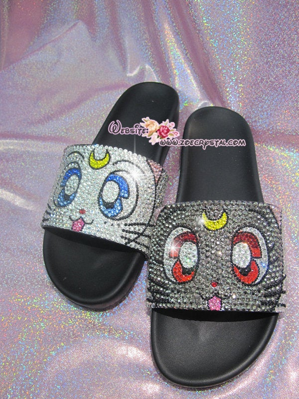 Bling Your SANDALS SLIDES Slippers for Summer Beach, Wedding, Festival - Example of Bling Luna& Artemis - Bedazzled Swarovski Rhinestone
