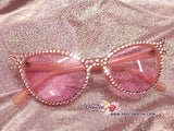 HOLLYWOOD Fashionable Pink Cat Eye Sunglasses / Shades / Sunnies w Clear White Bling Sparkly  Rhinestones Festival Rockabilly Retro Pin Up