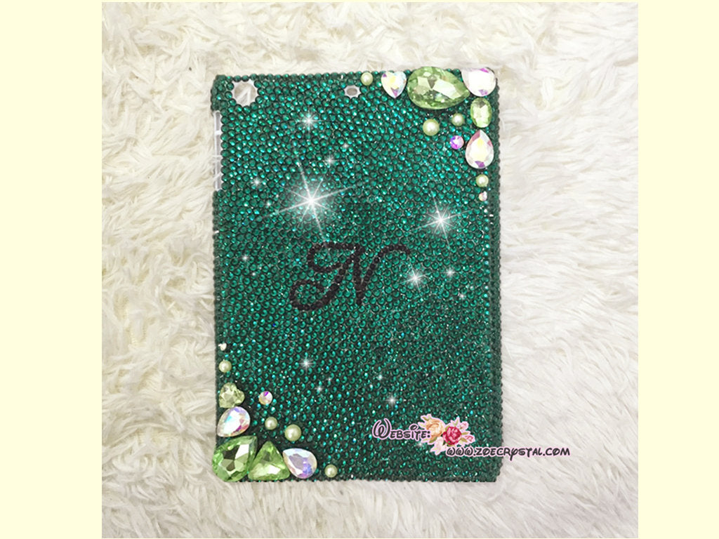 Bedazzled Bling iPAD CASE / Cover with Green Swarovski or Czech crystal (iPad air, iPad pro, iPad mini are available)Strass Sparkly Stylish