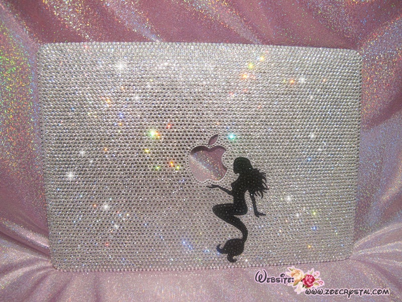 Bedazzled Bling MACBOOK Case / Cover with a Perfect Mermaid in Silver Crystal Rhinestone (Air / Pro) Glittering Sparkly Shinny
