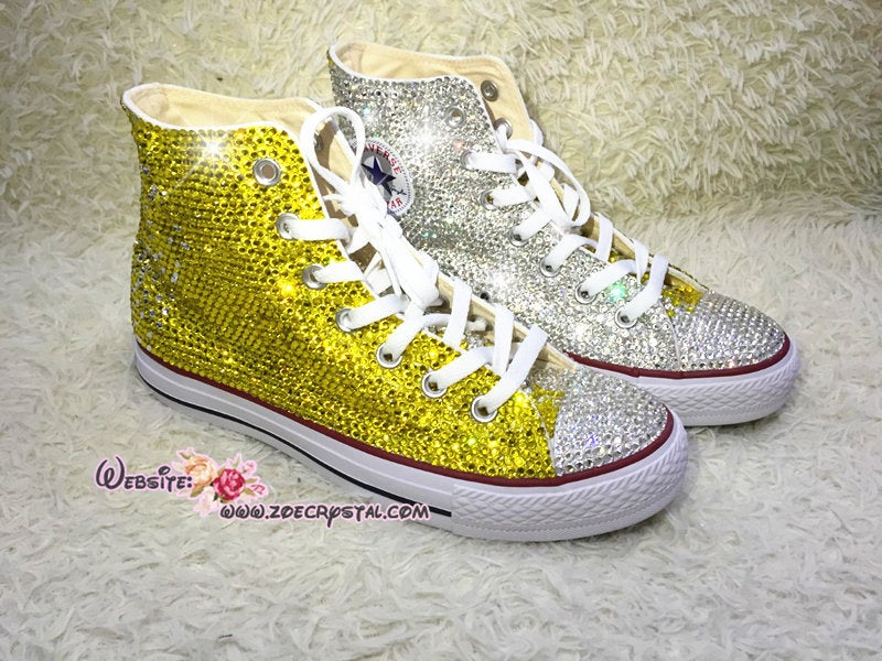 Bling Bedazzled CONVERSE Chuck Taylor All Star SNEAKERS Shoes with Sparkly & Gliterry Crystal Rhinestones- Yellow and Clear White