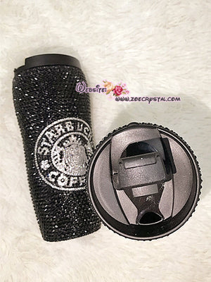 Bling Bedazzled STARBUCKS Coffee Bottle Thermos with Sparkly Shinny Glitery Crystal Rhinestone Diamond in White and Black