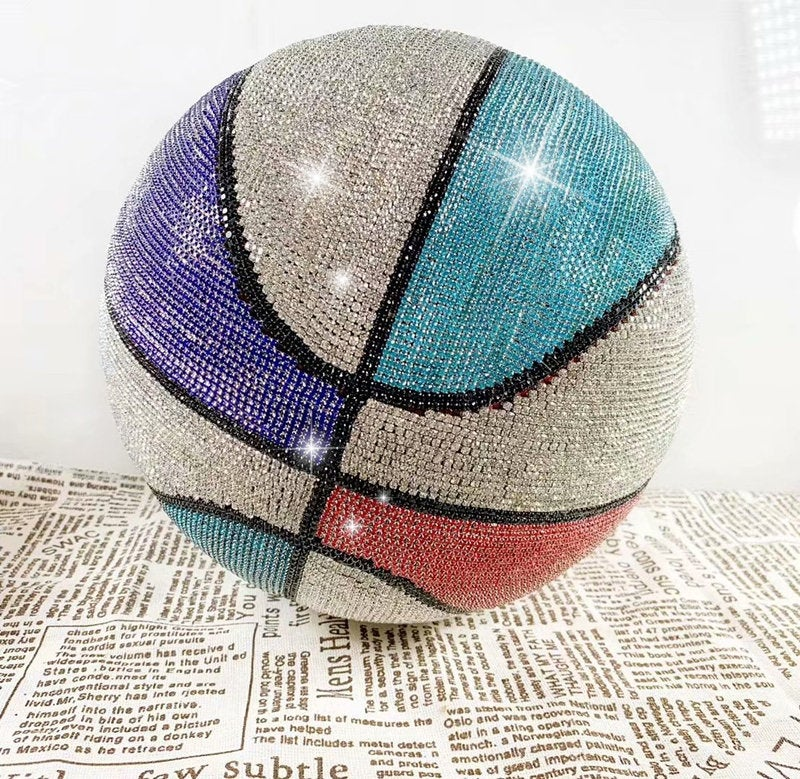 Bling & Bedazzled BASKETBALL Covered with Rhinestones for Home Decoration NBA Michael Jordan Lebron James James Harden Stephen Curry