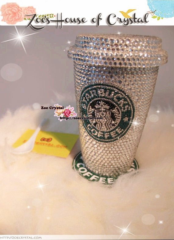 Bedazzled BLING STARBUCKS Coffee Cup / Mug / Tumbler Glitter Sparky Shinny with Swarovski Crystal Rhinestone Diamond - horizontal bejeweled
