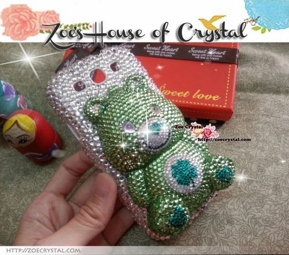 Czech/ Swarovski 3D CARE BEAR Crystal Cell Phone Case - Available for Samsung Galaxy S4 case
