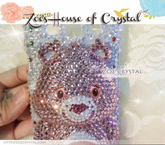 Czech/ Swarovski 3D CARE BEAR Crystal Cell Phone Case - Available for iPhone Xs, Xr and Xs Max