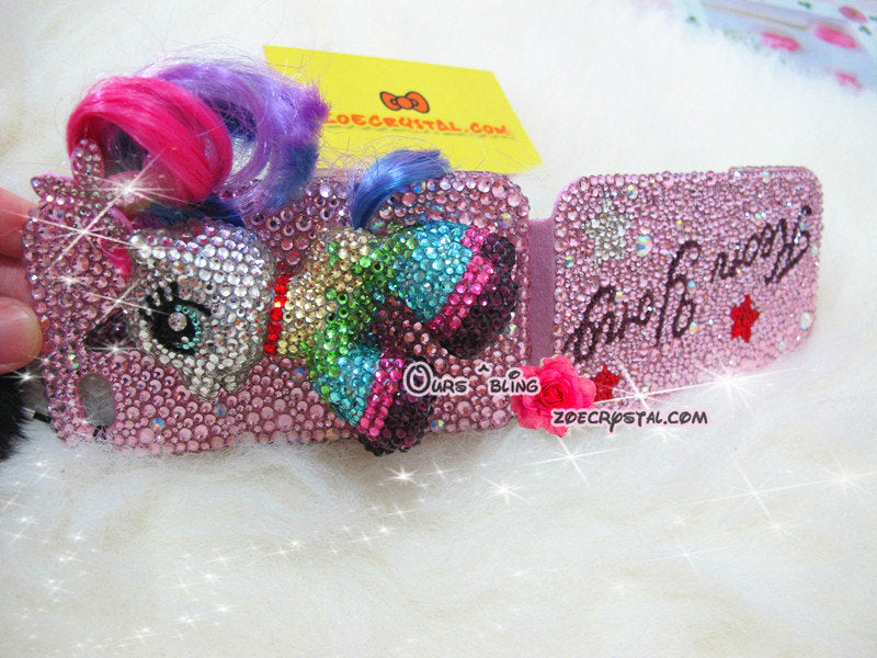 Czech/ Swarovski My Little Pony or UNICORN BLING Crystal 3D Cell Phone Flip Case - Double sides