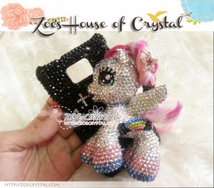 Czech/ Swarovski Cool My Little Pony / Little PEGASUS 3D Crystal BLING Cell Phone CASE