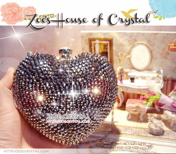 Stylish Bling and Sparkly Crystal Clutch with Little Angle- Bridal / Bridesmaid / Wedding Clutch