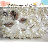 Bling and Sparkly Pearl Clutch with Crystal flowers