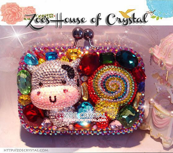 Bling and Sparkly CRYSTAL Clutch with MooMoo Cow