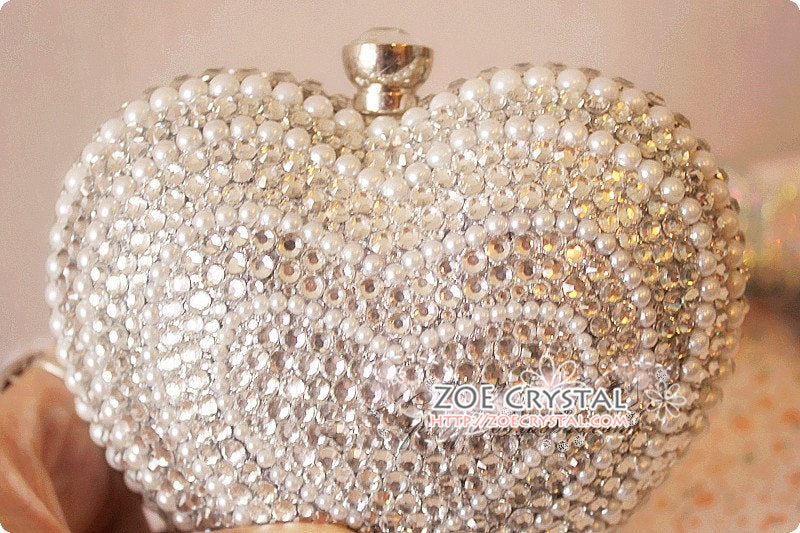 Stylish Bling and Sparkly Crystal Heart Clutch - Bridal / Bridesmaid / Wedding Clutch
