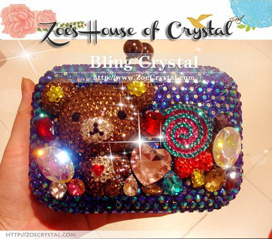 Bling and Sparkly Crystal Clutch with adorable Rillakuma
