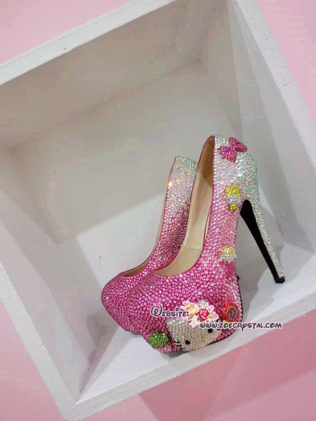 Bling Crystal Sparkly Strass High heel  handmade of Czech / Swarovski crystals