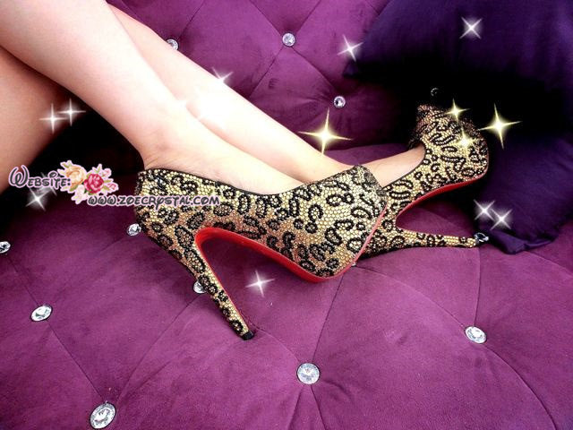 Bling and Sparkly Strass Leopard Print High Heels made of Czech / Swarovski crystals