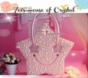 Stylish and Elegant STAR SHAPED bag with SMILEY made with Crystals and Pearls