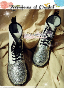 Marten Medium Tall leather Boots with Bling and Sparkly CRYSTAL