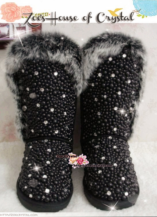 PROMOTION WINTER Bling and Sparkly Black Tall Fur SheepSkin Wool BOOTS w shinning Czech or Swarovski Crystals and Pearls