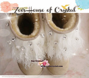 PROMOTION: WINTER Bling and Sparkly White Curly Fur SheepSkin Wool Boots w Big STONES