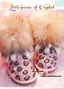 PROMOTION WINTER Bling and Sparkly Leopard Strass SheepSkin Wool BOOTS w shinning Czech or Swarovski crystal