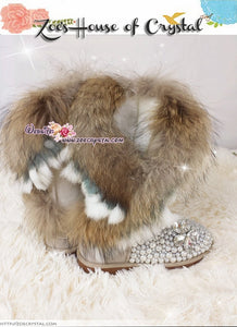 WINTER Tan Color  Fur Wool Boots w shinning CRYSTALS and PEARLS