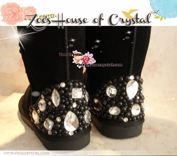 PROMOTION: WINTER Bling and Sparkly Black Pearl SheepSkin Wool Boots embroided with Czech / Swarovski Rhinestones