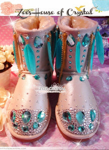 Promotion WINTER Bling and Sparkly SheepSkin Wool BOOTS w shinning Czech or Swarovski crystal in INDIANA Style