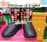 PROMOTION: WINTER Bling and Sparkly Black SheepSkin Wool Boots embroided with Colorful Czech / Swarovski Rhinestones