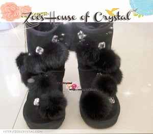PROMOTION: WINTER Bling and Sparkly Furball SheepSkin Wool Boots w Rhinestones